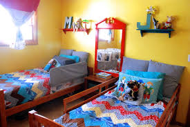 modern funky diy kid room ideas with blue and yellow interior
