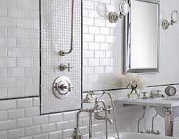 white subway tile bathroom shower circle stainless steel handle
