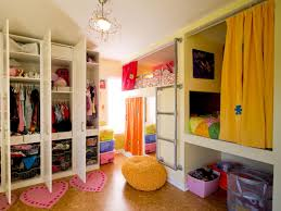 creative shared bedroom for three girls freestanding closet