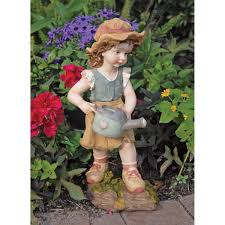 cute children statues for garden boy and best friends