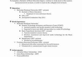Music Resume Template Sample Music Resume Old Version Resume Examples Resume Template