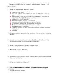 themes of beowulf poem assessment 1 notes for beowulf introduction chapters 1 4