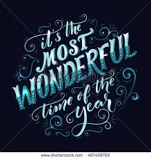 most wonderful time year hand lettering stock vector 467408765