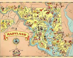 map of maryland to print maryland print etsy