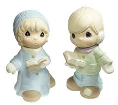 set of 2 precious moments boy and carolers qvc