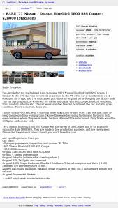 would you pay 28 000 for this 1971 nissan bluebird 1800 sss coupe