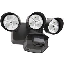Lithonia Bronze 3 Head Outdoor Led Security Floodlight Motion