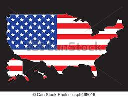 vector usa map usa map outline with united states flag vector illustration clip