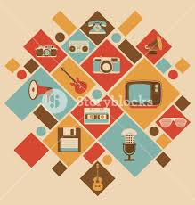retro style media icons vintage elements nostalgic design