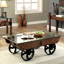 Coffee Tables With Wheels Rustic Glass Top Wooden Coffee Table With Black Metal Wheels