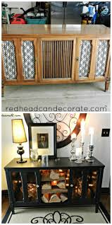 Upcycled Stereo Cabinet Stereo Console Makeover Redhead Can Decorate