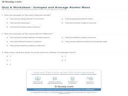 quiz u0026 worksheet u2013 isotopes and average atomic mass study