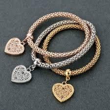 love hearts charm bracelet images Heart charm bracelets with austrian crystals pandoras box inc jpg