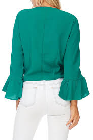 miss love green front tie blouse from wisconsin by apricot lane