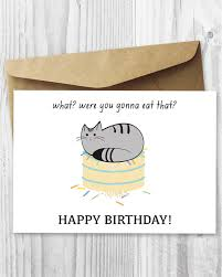 printable cat birthday card happy birthday cat digital card