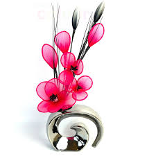 8 pansy cerise pink artificial flowers in modern