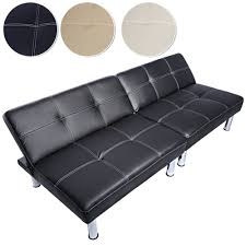 canap lit simili cuir canapé convertible en lit banquette clic clac en simili cuir noir