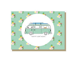 volkswagen van with surfboard clipart vw surf camper van happy birthday card camper van surfing