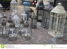 lanterns and lights for sale at flea market stock photo image