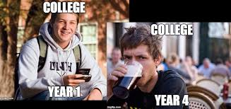 College Freshman Meme - senior year vs freshman year whim online magazine