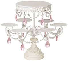 chandelier cupcake stand white and pink beaded multi cake stand home kitchen