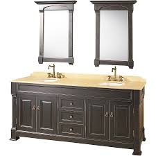 dark painted double sink vanity with marble countertop also