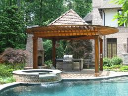 pool and outdoor kitchen designs swimming pool backyard pergola in front of swimming pool with