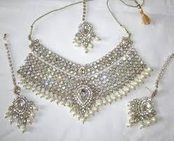 crystal choker necklace set images Buy pearl crystal choker gold plated bridal necklace dangler JPG