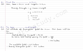 class 9 class x cbse r s aggarwal solutions areas ex 7 a part