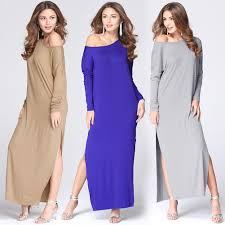 one shoulder off long sleeve women dress 2016 casual solid slit