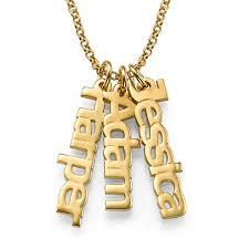 Cheap Name Necklaces 18k Gold Plated Three Vertical Custom Name Necklaces