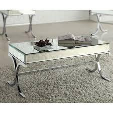 Pc Coffee Table Coffee Side U0026 End Tables Yuri 3 Pc Mirrored Top Coffee Table Set