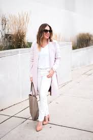 all white with a pale pink winter coat
