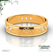wedding gold set diamond set flat scroll wedding ring