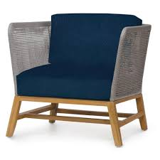 Modern Teak Outdoor Furniture by Serena Modern Grey Woven Teak Outdoor Lounge Chair Navy