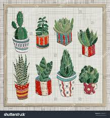 embroidery succulents cactus pots cactus wall stock vector