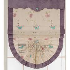 Purple Butterfly Curtains Purple Butterfly Embroidery Romantic Roman Shade Curtains