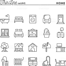 Home Interior Vector by Home Interior Furniture And More Thin Line Icons Set Stock Vector
