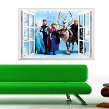 diy 3d cartoon queen elsa 3d window snow pvc removable wall desc desc desc desc desc desc