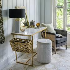 elijah marble top gold desk with side basket desks graham u0026 green