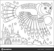black and white page for coloring drawing of owl flying at night