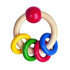 baby toy rings images Heimess 733490 wooden ring rattle 4 coloured rings amazon co uk jpg