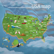 Wisconsin Usa Map Usa Map Famous Symbols Vector Image 1534479 Stockunlimited