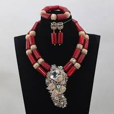 african necklace earrings images Coral beaded african necklace set yafeu cultural fashion jpg