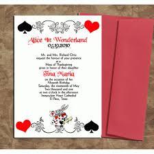 Quinceanera Invitation Cards Alice In Wonderland Card Deck Style Invitations