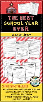 Best School Year Ever Novel Study Unit prehension vocab