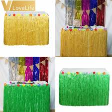 luau party decorations hibiscus artificial grass table skirt for hawaiian party decorations