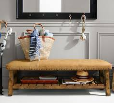 Pottery Barn Entryway Bench And Shelf Caden Leather Bench Pottery Barn