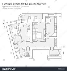 home plan standard home furniture symbols set used stock vector 625637642