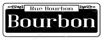 bourbon sign new orleans sign of rue bourbon a white background